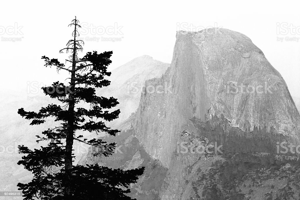 View of Half Dome from Glacier Point in Yosemite royalty-free stock photo