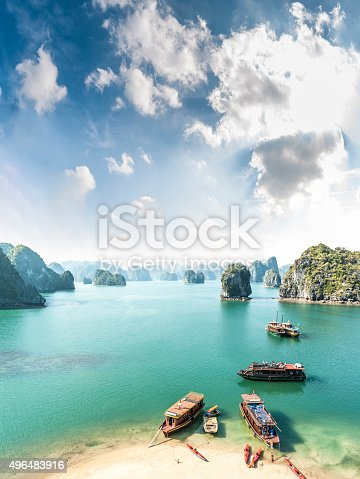 A Beautiful View Of Tourist Boats In Halong Bay, Vietnam