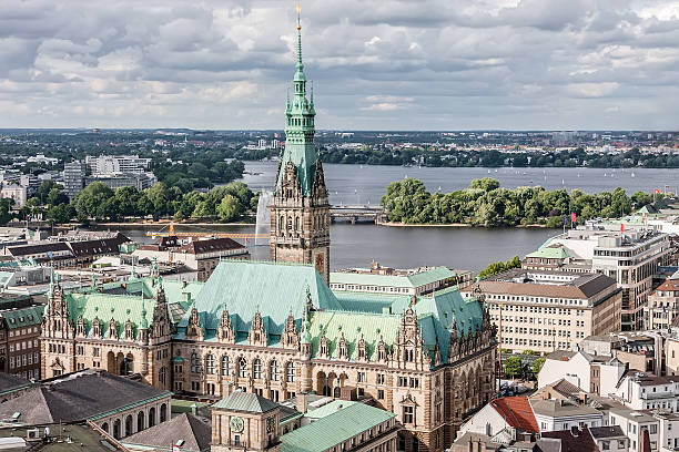 View of Hamburg from the top point of the center.