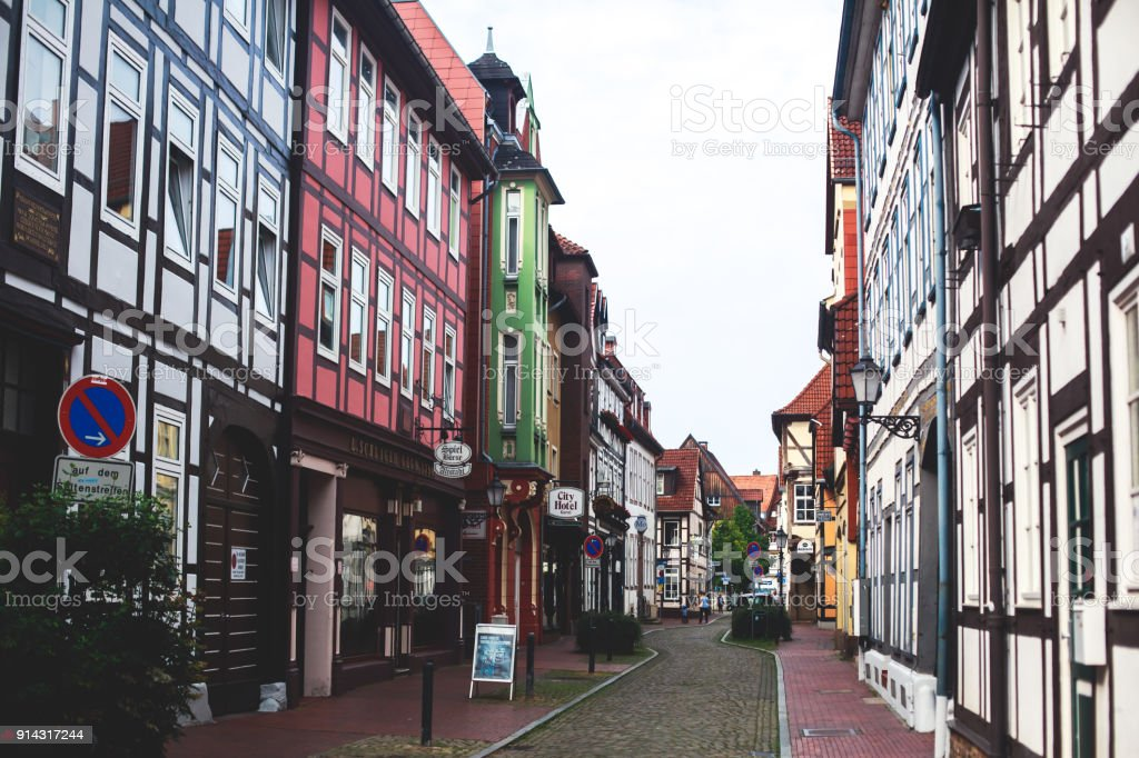 View of Hameln old town with market square and traditional german houses, Lower Saxony, Germany stock photo