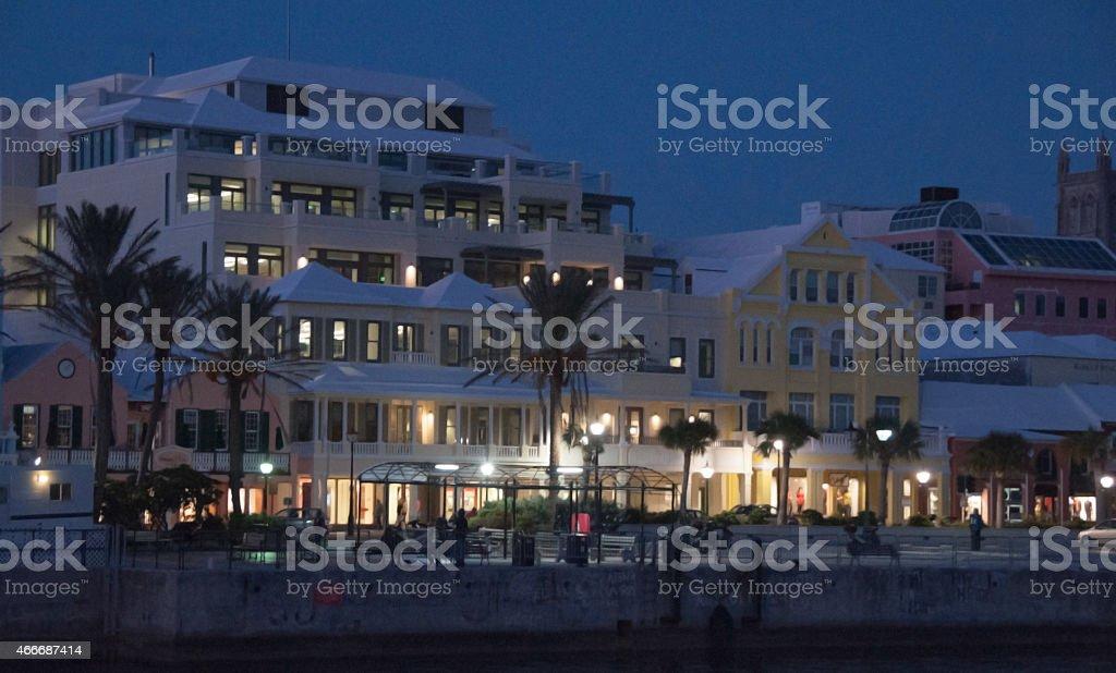 View of Hamilton, Bermuda, at night- from the bay. stock photo