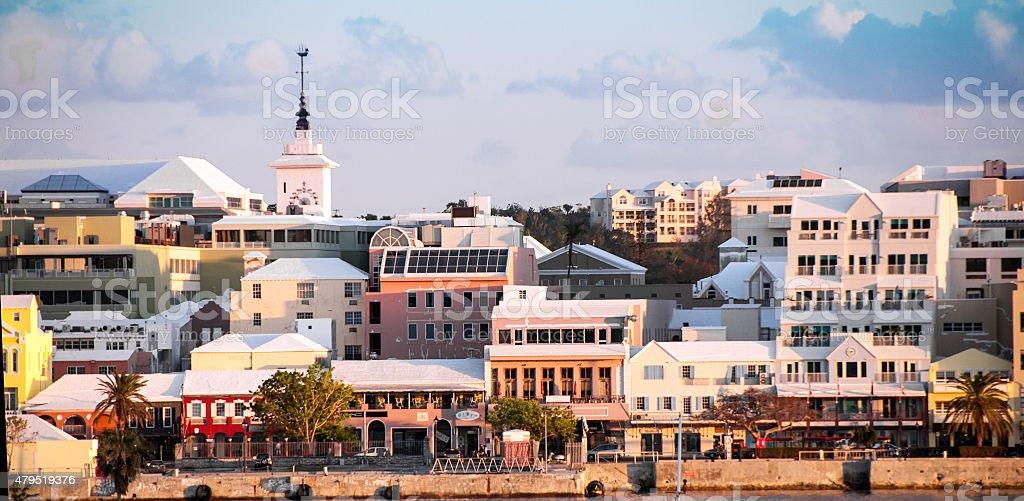 View of Hamilton, Bermuda, at sunset. stock photo