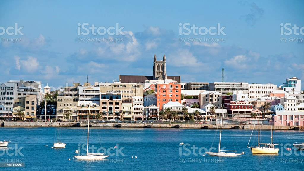 View of Hamilton, Bermuda, from across the bay with sailboats stock photo