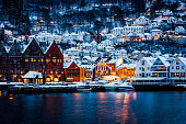 istock View of Hanseatic houses in Bergen at Christmas 1254581044
