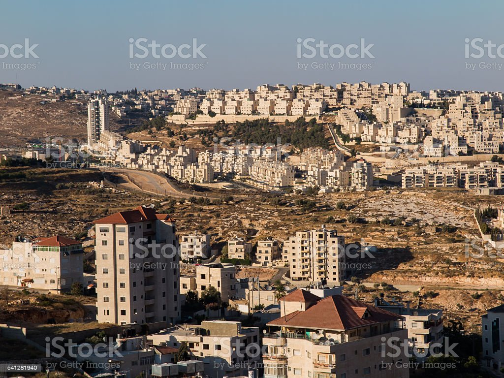 View of Har Homa (Homat Shmuel) from Bethlehem 2015 stock photo