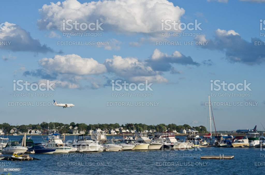 View of  harbor and Logan international airport  in Boston, USA stock photo