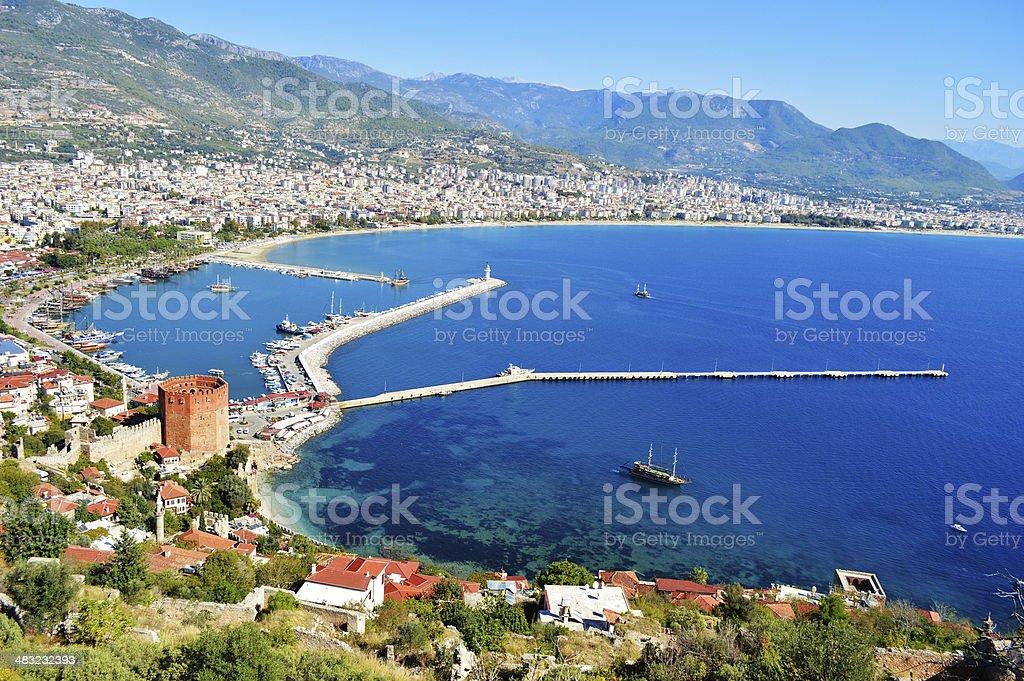 View of harbor from Alanya peninsula. Turkish Riviera stok fotoğrafı