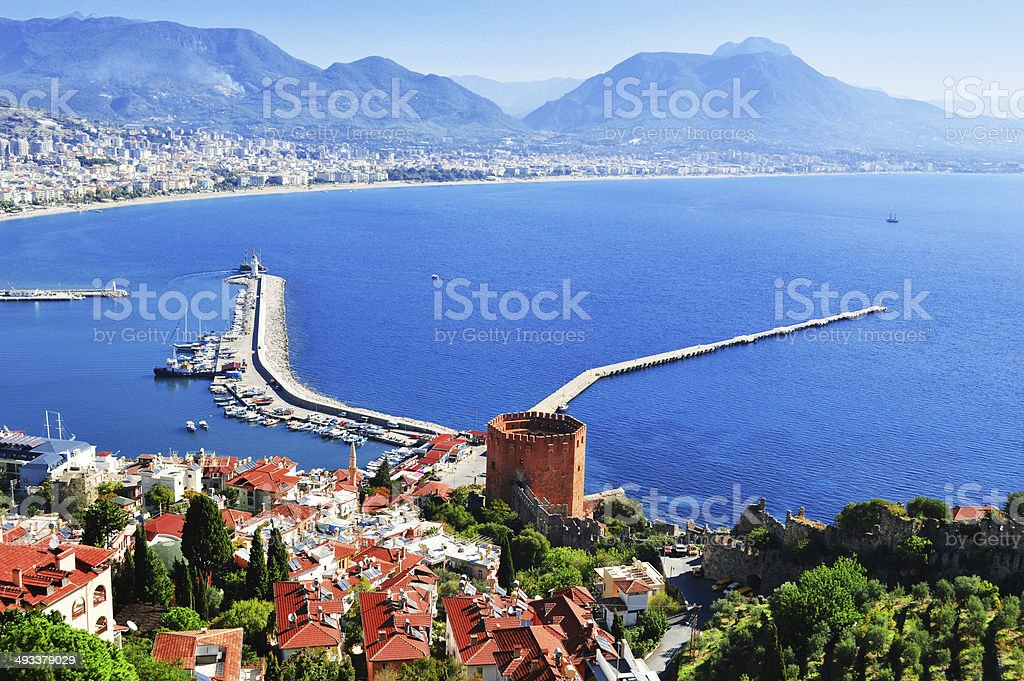 View of harbor from Alanya peninsula. Turkish Riviera stock photo