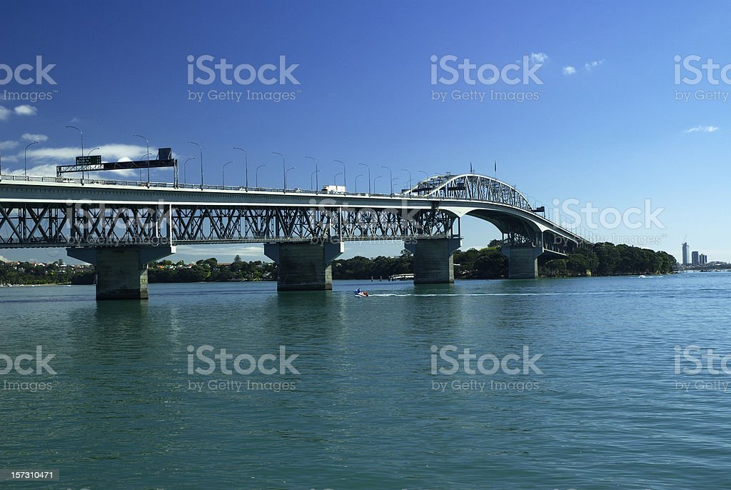 View of Harbour Bridge in Auckland, New Zealand stock photo