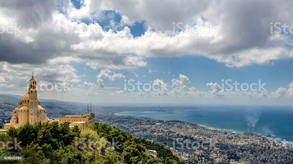 View of Harissa monastery with Beirut in the background – Foto