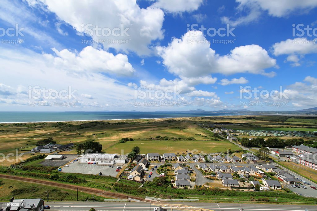 View of Harlech in Snowdonia, Wales stock photo