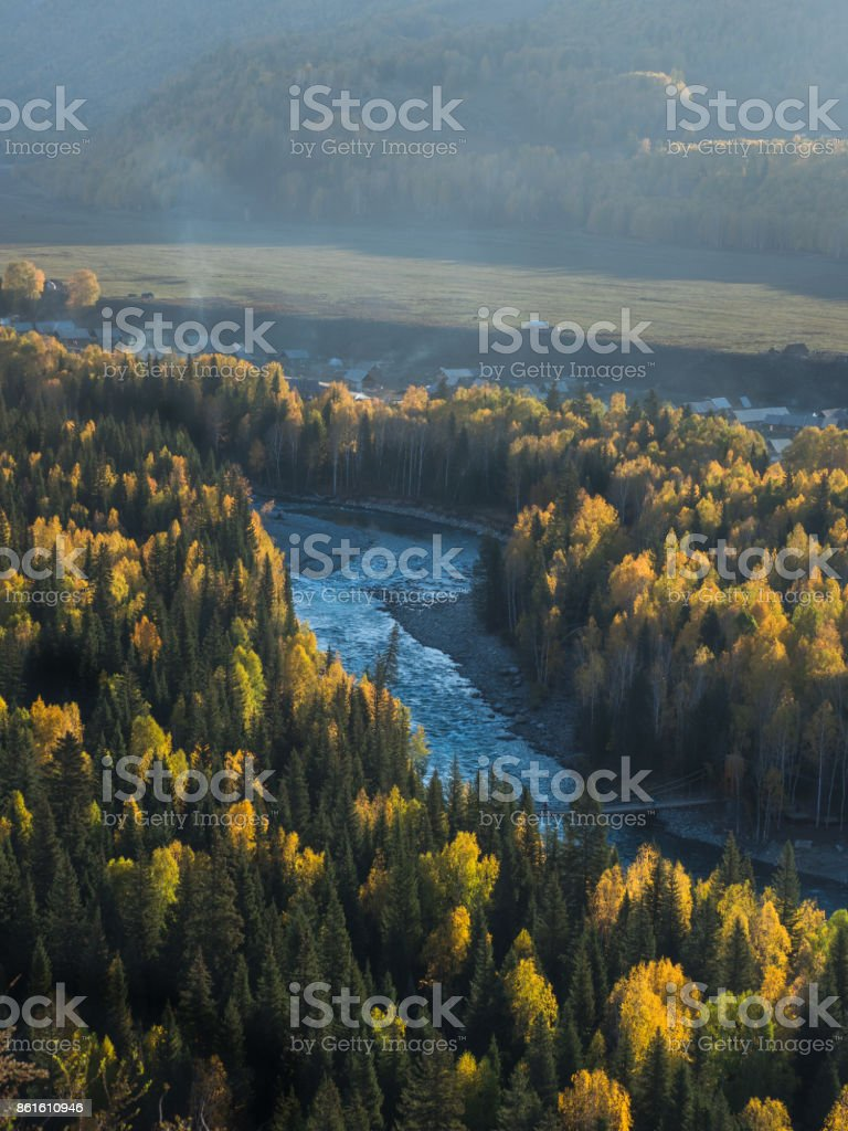 View of Hemu village in Autumn time, Xinjiang, China. The famous village for tourist stock photo