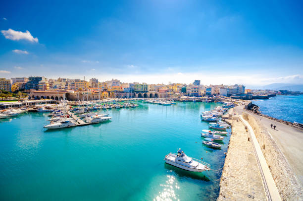 View of Heraklion harbour from the old venetian fort Koule, Crete, Greece stock photo