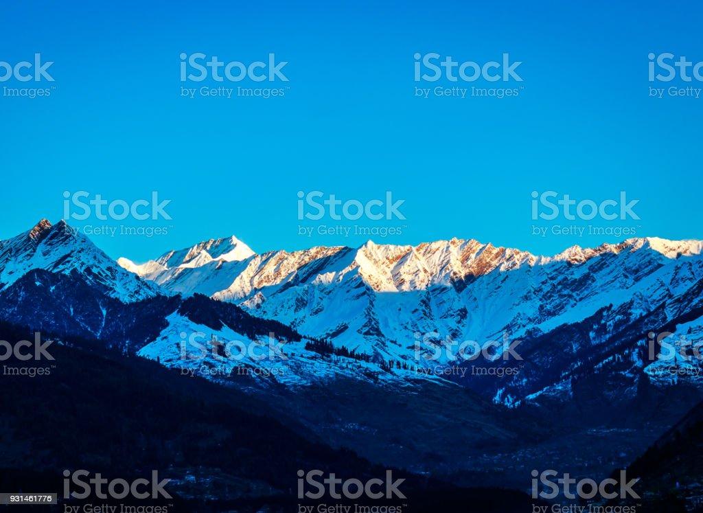 View of Himalayas during winter season In Manali,India stock photo