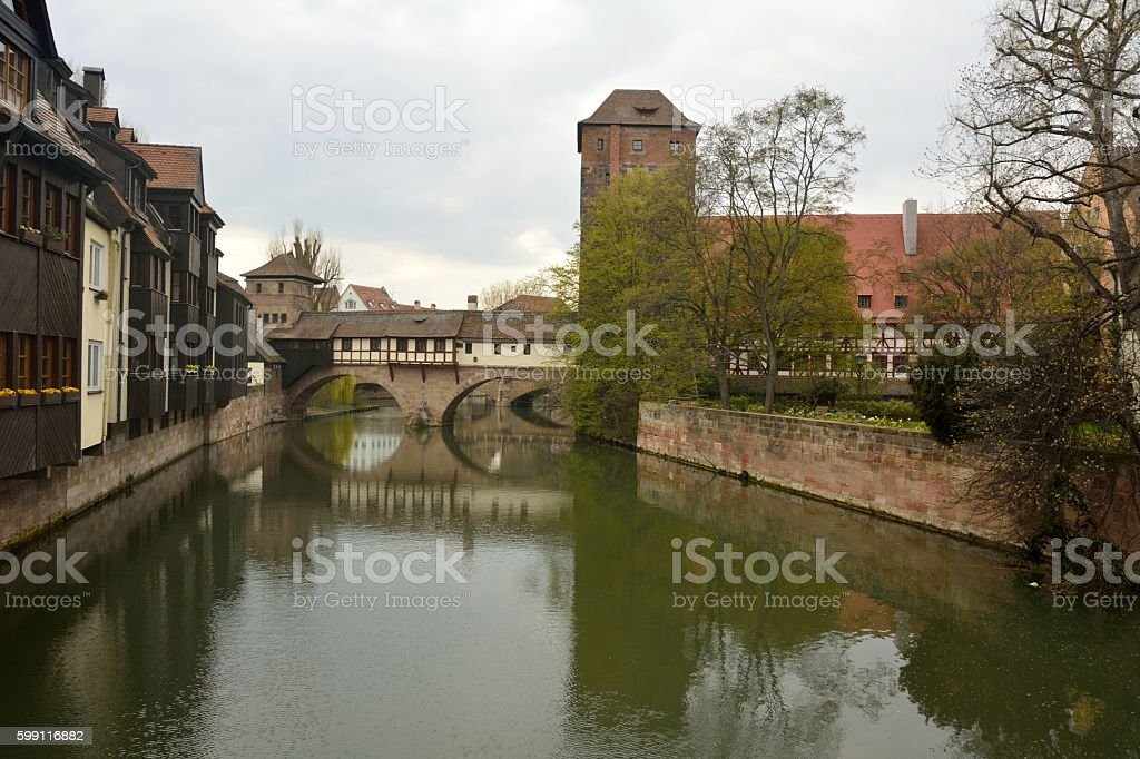View of historic buildings on Pegnitz riverside in Nuremberg stock photo
