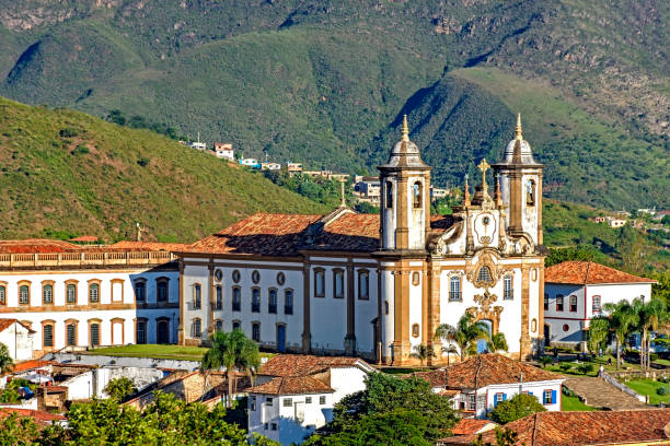 View of historic church in downtown of Ouro Preto city stock photo