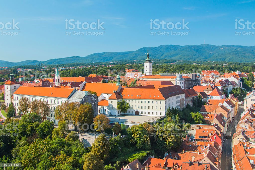 View of historic upper town in Zagreb, capital of Croatia stock photo