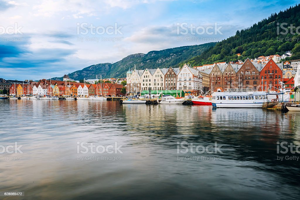View Of Historical Architecture, Buildings, Bryggen In Bergen, N stock photo