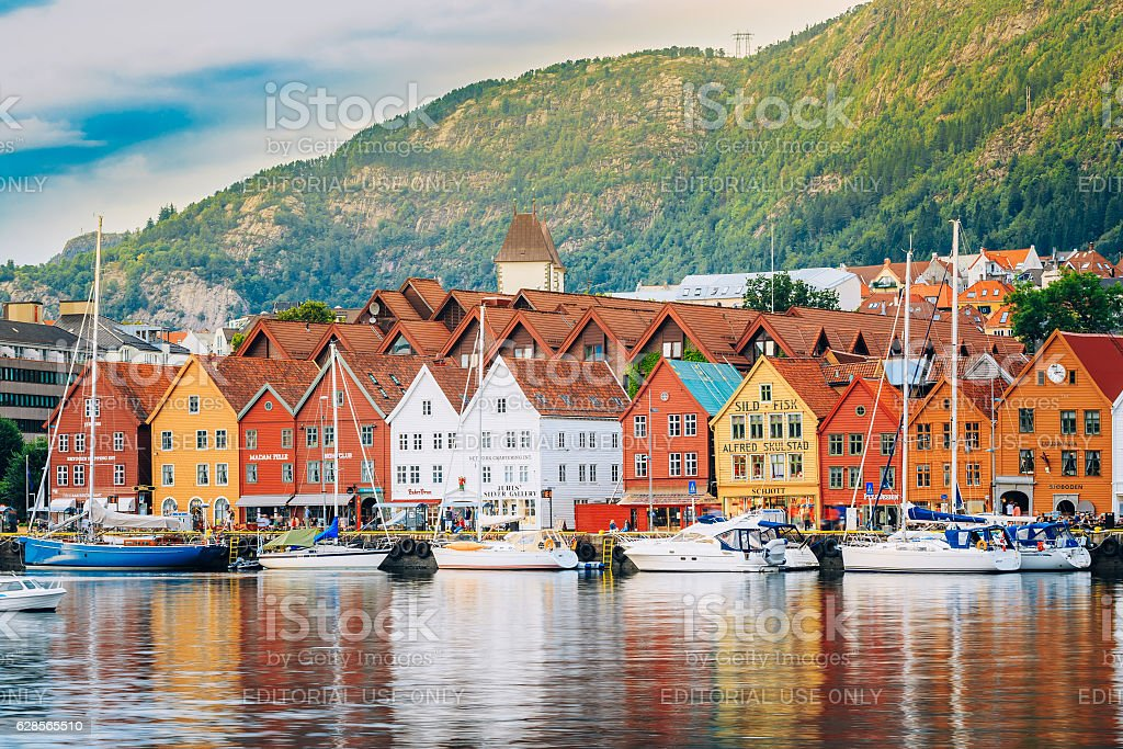 View of historical buildings, Bryggen in Bergen, Norway. UNESCO stock photo