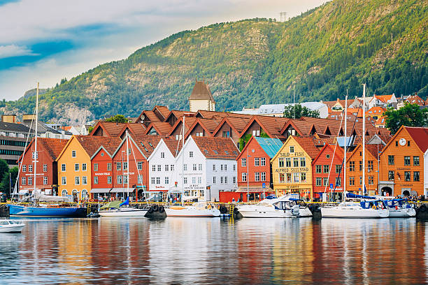 view of historical buildings, bryggen in bergen, norway. unesco - noruega - fotografias e filmes do acervo