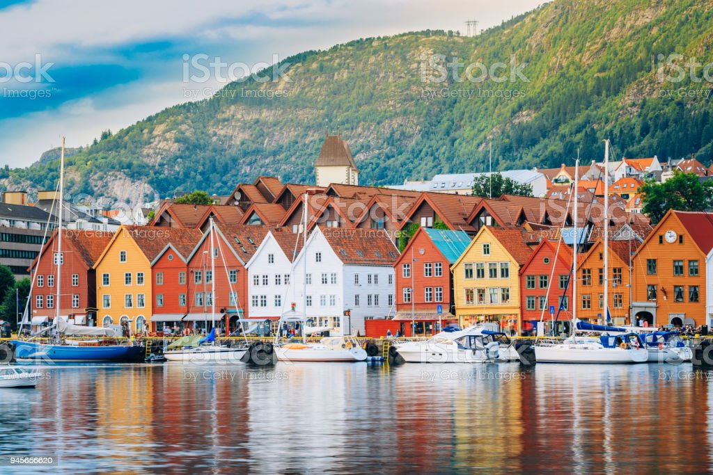 View of historical buildings, Bryggen in Bergen, Norway. UNESCO World Heritage Site stock photo