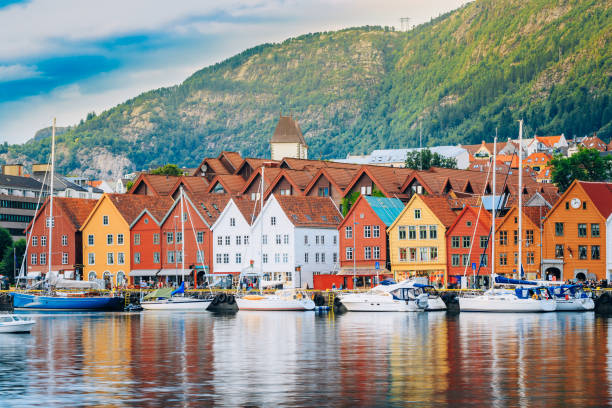 View of historical buildings, Bryggen in Bergen, Norway. UNESCO World Heritage Site stock photo