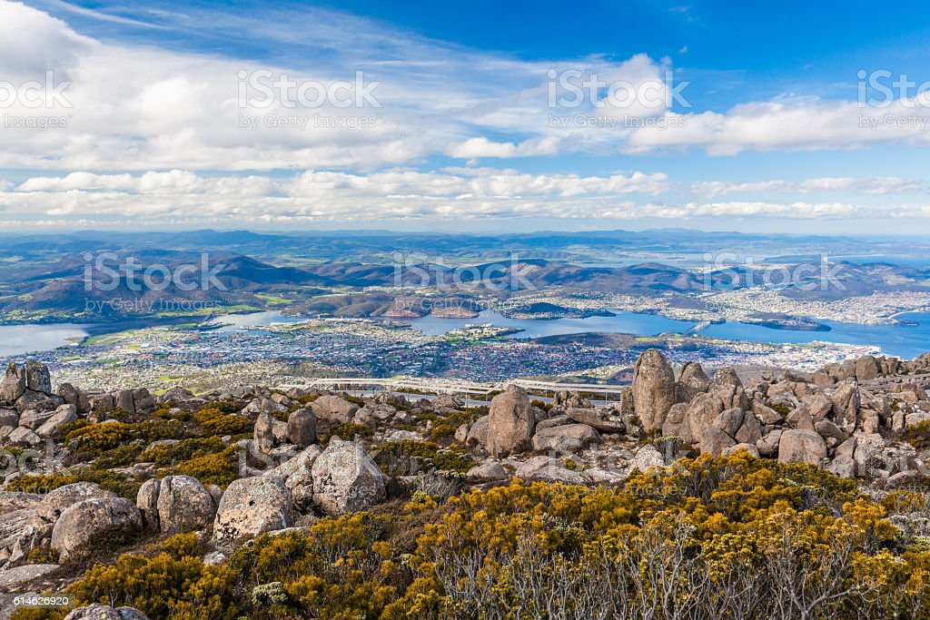 View of Hobart from Mount Wellington, Tasmania stock photo