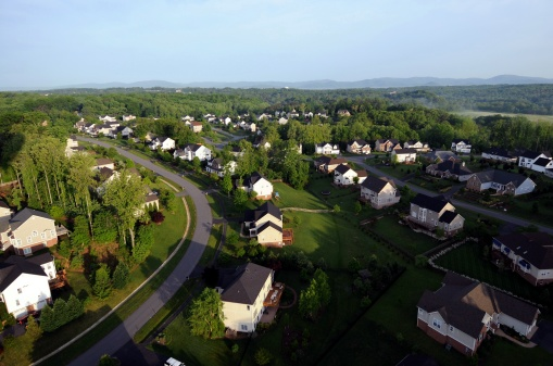 View Of Homes And Neighborhoods From The Air Stock Photo - Download Image Now