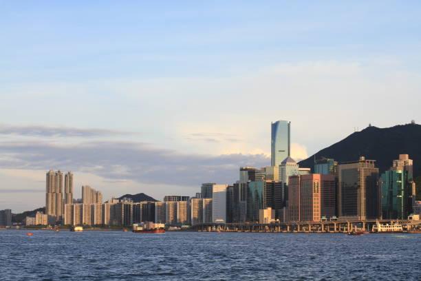 香港島日落中的視圖圖像檔