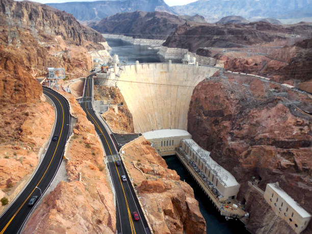 View of Hoover Dam in Boulder City, Nevada stock photo