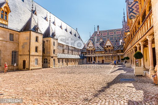 19 September 2019. View of Hospice de Beaune or Hotel Dieu in Burgundy region, France