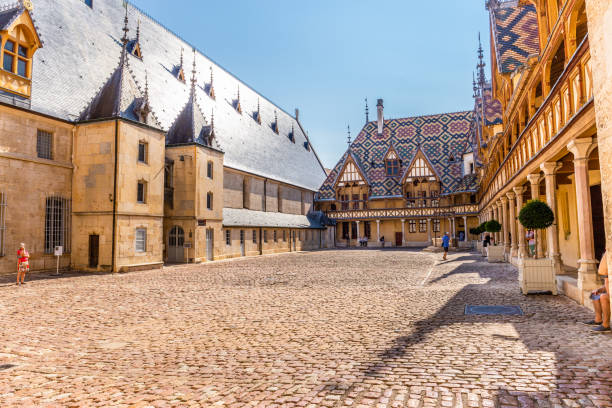 View of Hospice de Beaune or Hotel Dieu in Burgundy region, France stock photo