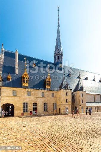 19 September 2019. View of Hotel Dieu or Hospice de Beaune, in Burgundy region, France