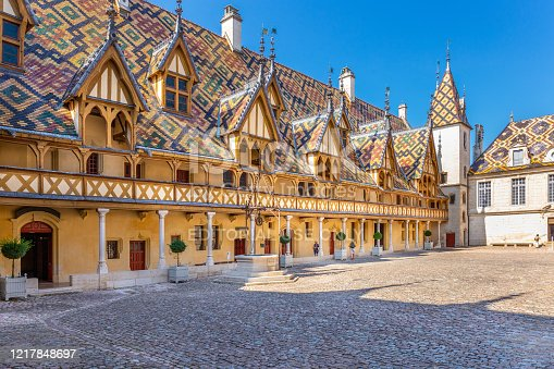 19 September 2019. View of Hotel Dieu or Hospice de Beaune, in Burgundy