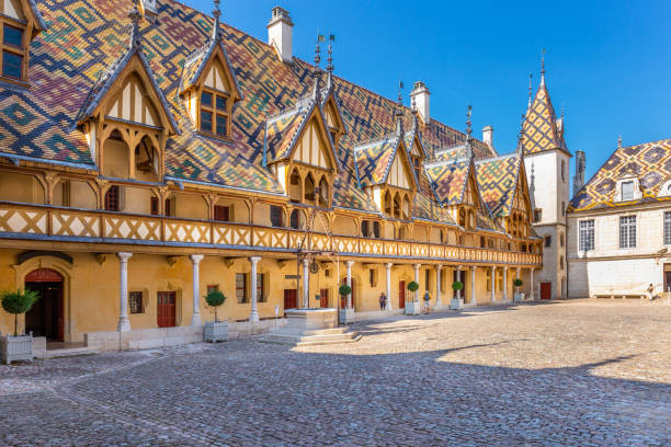 View of Hotel Dieu or Hospice de Beaune, in Burgundy stock photo