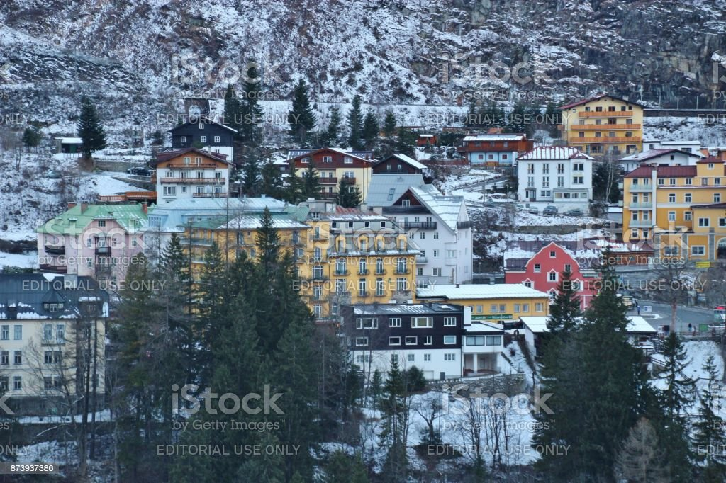 View of Hotels and villas in Bad Gastein in Winter. Austria. stock photo