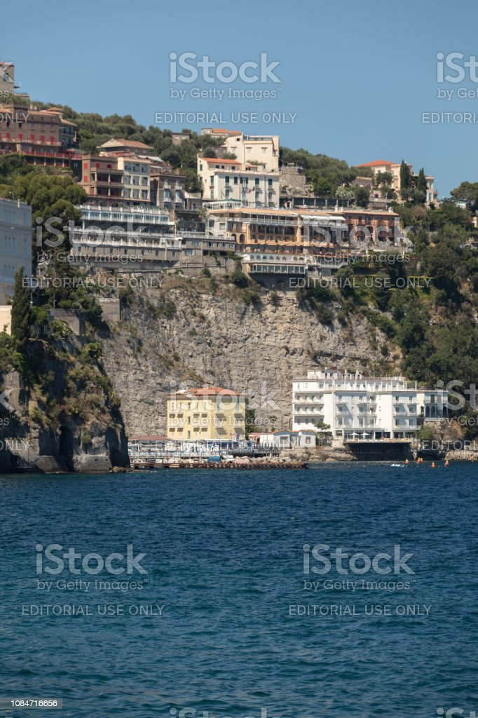 . View Of Houses And Hotels On The Cliffs In Sorrento Gulf Of Naples