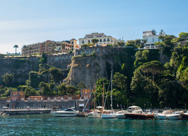 View of houses and hotels on the cliffs in Sorrento. Gulf of Naples, Campania, Italy stock photo