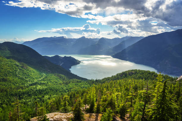 view of howe sound, canada, on a summer day - british columbia stock pictures, royalty-free photos & images