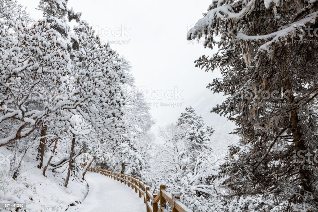 View of Huanglong with snow in winter stock photo