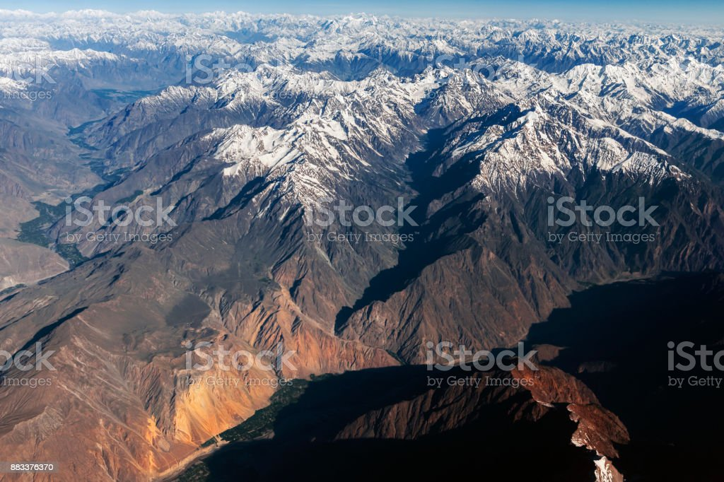 View of Hunza River, Hunza Valley, Nomal Valley Karakorum,Pakistan,Central Asia stock photo