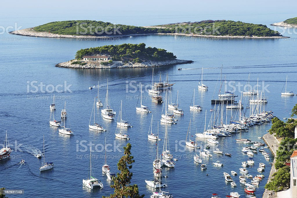 View of Hvar harbor from castle stock photo