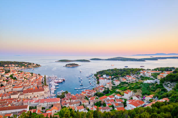 View of Hvar town, Croatia. Harbor of the old Adriatic island stock photo