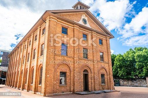 23rd December 2018, Sydney NSW Australia : View of Hyde park barracks main building a sandstock bricks heritage building in Sydney NSW Australia