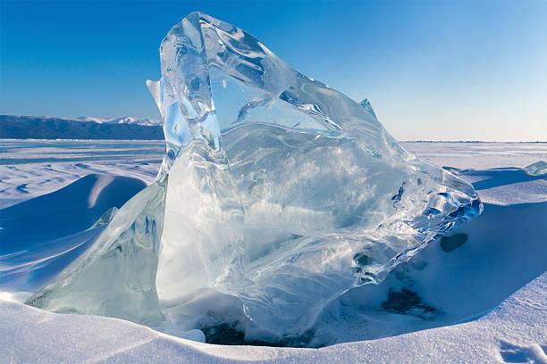 View of Ice floe on winter Baikal lake stock photo