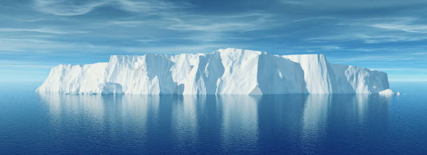 view of iceberg with beautiful transparent sea on background. - iceberg stock photos and pictures
