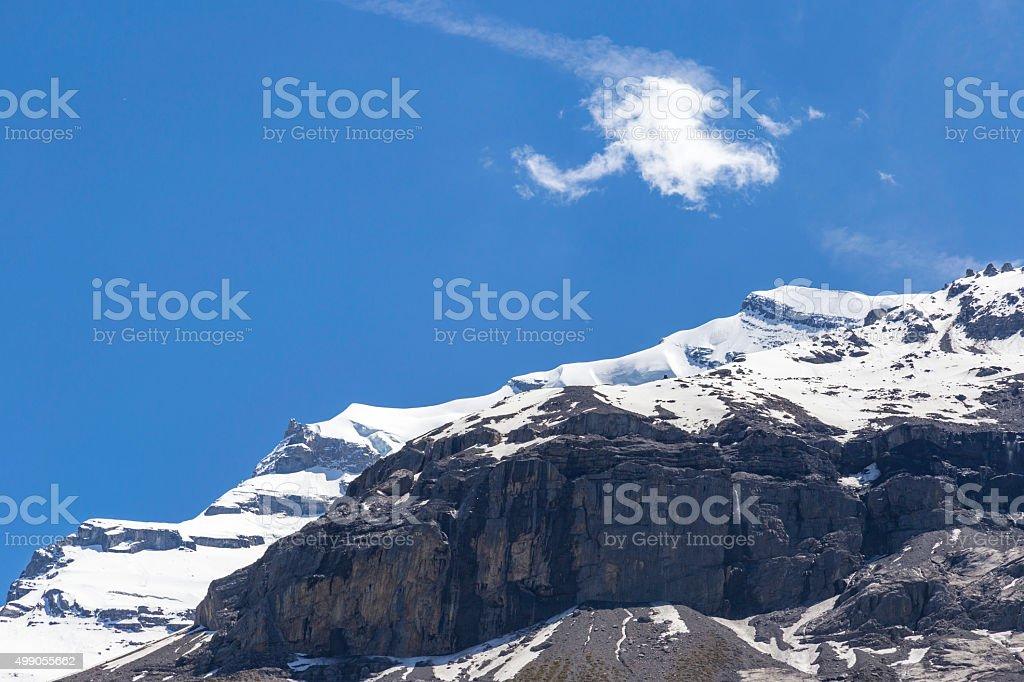 View of ice-capped Swiss Alps near Oeschinensee Lake, Switzerland stock photo