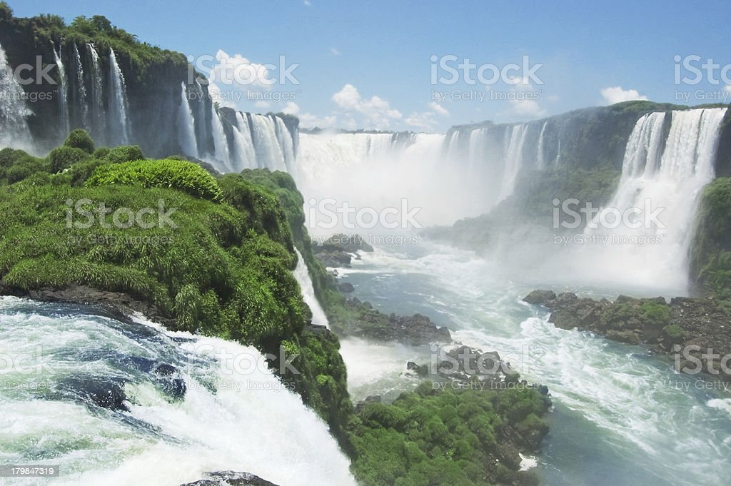 A view of Iguazu Falls between Brazil and Argentinia stock photo