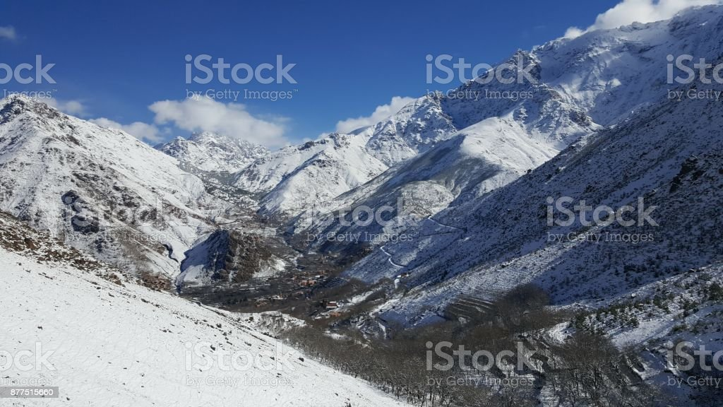 view of imlil village in Marrakech, Morocco stock photo