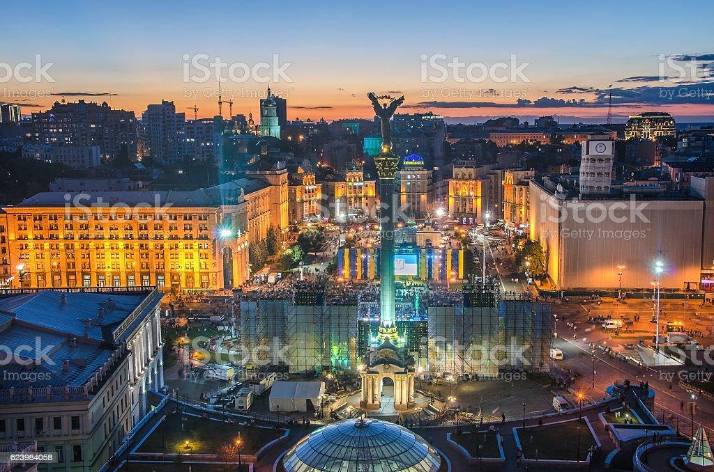 View of Independence Square (Maidan Nezalezhnosti) in Kiev, Ukraine stock photo